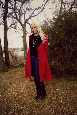 ruby red wool velvet vintage coat - black faux suede Forever 21 boots