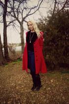 ruby red wool velvet vintage coat - black faux suede Forever 21 boots