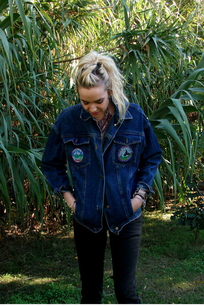 navy denim Vintage Thrifted jacket - black darla Dr Marten boots