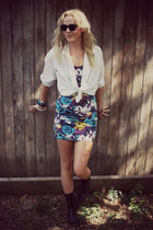 blue floral papaya dress - black leather Dolce Vita boots
