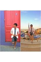 charcoal gray Topman shorts - light pink H&M blazer
