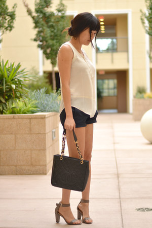 Chanel bag - ann taylor top - ann taylor sandals