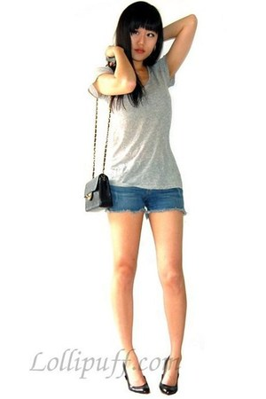 Chanel bag - Christian Louboutin shoes - denim blue Paige shorts