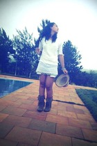 taken from my fathers closet dress - Ellus shorts - Renner boots - Renner hat