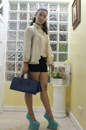 heels - Louis Vuitton purse - Forever 21 shorts - Bedazzle Accesories necklace