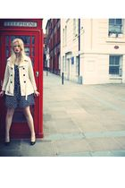 beige mac new look coat - black Marks and Spencers shoes - black dress