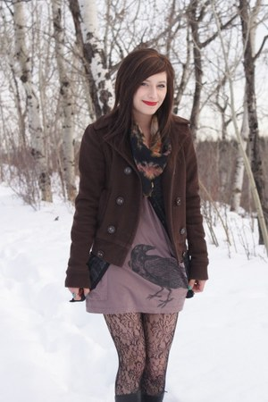dark gray from the 30s vintage scarf - tan deadworry dress - dark brown BDG coat