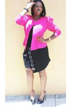 vintage blazer - La Rok dress - YSL shoes - casio accessories