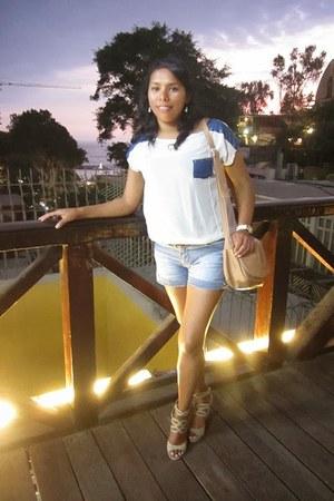 light blue denim Xiomi shorts - white chiffon denim Urbanika Moda blouse