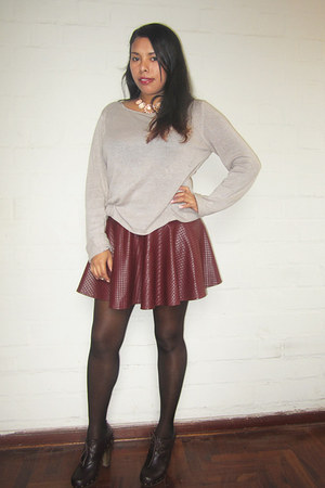 brick red shein skirt