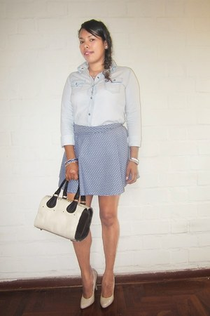 periwinkle polka dots DIY skirt - light blue denim sammydress shirt