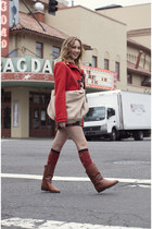 leather boots - wool coat - hobo bag - butterfly sock it to me socks
