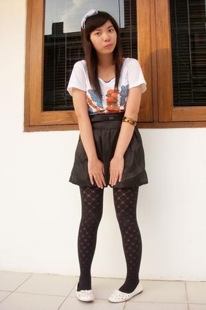 white The Secret shirt - black Princess skirt - black tights - white shoes - pur