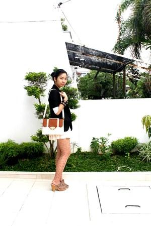 neutral Mango dress - black glitz blazer - peach Topshop tights - brown bag - br
