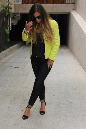 yellow neon Zara blazer - blue Express jeans