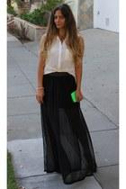 black sheer maxi H&M skirt - white Aaron Ashe shirt