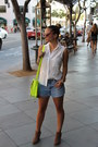 Suede-ankle-sole-society-boots-neon-satchel-target-bag-cutoff-diy-shorts