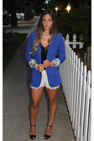 cobalt blazer H&M blazer - scalloped lace Zara shorts - high heel Zara sandals
