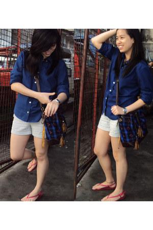 navy shirt - navy leather  twill bag - white striped shorts shorts
