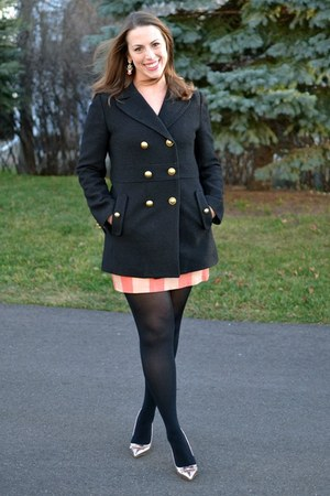 black wool Loft coat - light pink shoemint shoes - red JCrew skirt