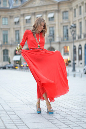 red YSL dress - gold Valentino purse - turquoise blue Charlotte Olympia heels -