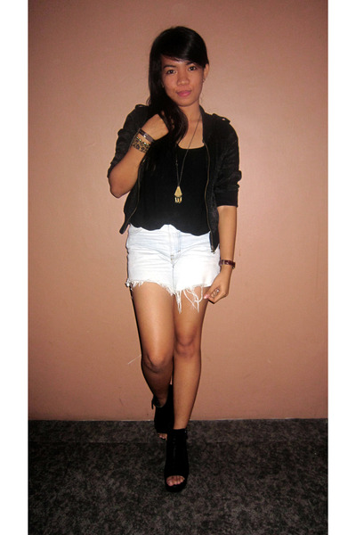 thrifted jacket - DIY Distressed shorts - thrifted wedges - Thrifted Inner top