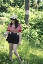 red charolette russe shirt - black charolette russe shorts - beige charolette ru