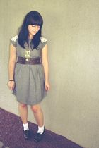 gray Francescas Collection dress - white kohls socks - brown Charlotte Russe bel