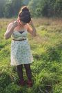 Beige-urban-outfitters-dress-black-kohls-tights-brown-wet-seal-boots-brown