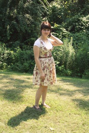 beige Marshalls dress - white kohls shirt - brown Keds shoes