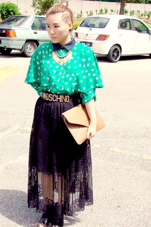 lace skirt - bag - Moschino belt - H&M necklace - vintage blouse