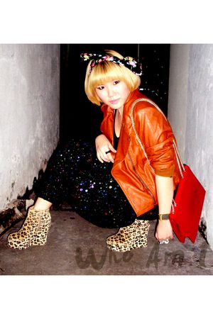 jacket - leopard wedge shoes - bag UsUsUs Clothing accessories