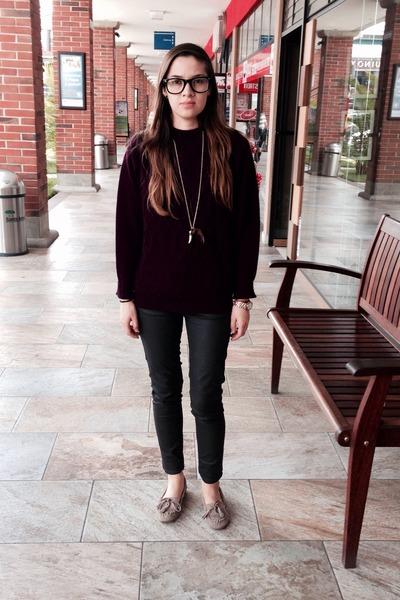 maroon Urban Outfitters sweater - tan Steve Madden shoes - army green Zara pants
