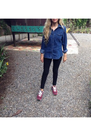black Forever 21 jeans - blue Urban Outfitters shirt - ruby red sneakers