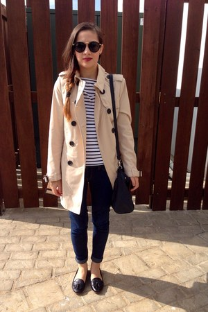 beige Stradivarius coat - black shoes - blue banana republic blouse