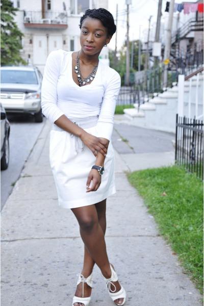off white Spring heels - ivory joe fresh style skirt