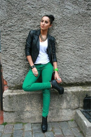 teal Amisu jeans - black Jeffrey Campbell boots - black Amisu blazer
