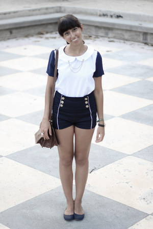 navy Zara shorts - gold neck brooch DIY accessories - white DIY blouse