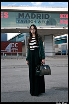 black doctor bag vintage from Ebay bag - white striped t-shirt Zara t-shirt