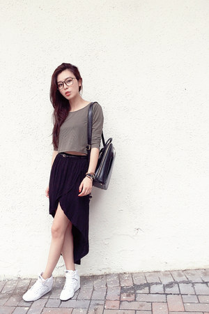 black Zara skirt - brown Marc by Marc Jacobs accessories - black Mango belt