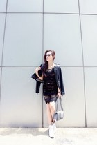 heather gray special edition Chanel bag - white nike shoes - black Zara jacket