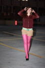 Maroon-h-m-blouse-camel-h-m-shorts-black-zigi-soho-shoes