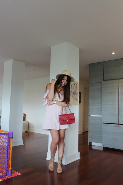 straw H&M hat - leather Chanel bag - Chinese Laundry heels