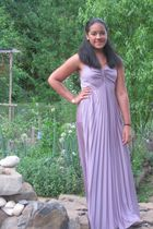 purple handmade dress - gold accessories