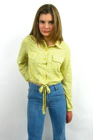 light blue vintage 70s levis jeans jeans - yellow vintage 70s diane von furstenb
