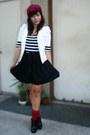 White-sm-dept-store-blazer-black-top-black-skirt-red-socks