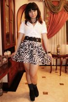 white shirt - gray H&M skirt - black Forever 21 shoes