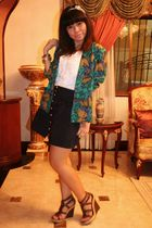 green Archive Clothing blazer - white blouse - blue skirt