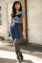 navy - navy Forever 21 skirt - heather gray tights - black shoes