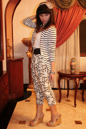 white Celine blazer - beige Zara blouse - white pants